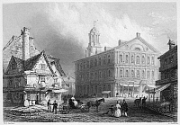 0037932 © Granger - Historical Picture ArchiveBOSTON: FANEUIL HALL, 1838.   Faneuil Hall in Boston, Massachusetts. Steel engraving, English, 1838.