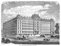 0057865 © Granger - Historical Picture ArchiveBOSTON: ST. JAMES HOTEL.   The St. James Hotel at Franklin Square in 1869. Wood engraving from a contemporary American newspaper.
