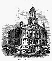 0091950 © Granger - Historical Picture ArchiveBOSTON: FANEUIL HALL, 1879.   Faneuil Hall at Boston, Massachusetts. Line engraving, 1879.