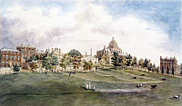 0119648 © Granger - Historical Picture ArchiveBOSTON: BEACON STREET.   Beacon Street and the New State House seen from the Common. Copy of a watercolor by J.R. Smith, c1809.