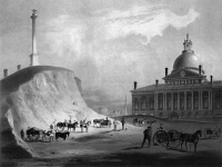 0119673 © Granger - Historical Picture ArchiveBOSTON: STATE HOUSE, 1811.   Massachusetts State House, completed in 1798, and the Beacon Hill Monument, 1791, in Boston. Lithograph, c1858, after a drawing by J.R. Smith, 1811.
