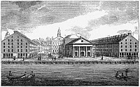 0176638 © Granger - Historical Picture ArchiveBOSTON: QUINCY MARKET.   A view of Quincy Market and Faneuil Hall in Boston, Massachusetts, built in 1824-1826. Engraving, 19th century.