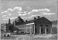 0176639 © Granger - Historical Picture ArchiveBOSTON: QUINCY MARKET.   A view of Quincy Market and Faneuil Hall in Boston, Massachusetts, built in 1824-1826. Engraving, c1826.