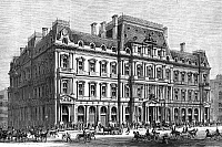 0267302 © Granger - Historical Picture ArchiveBOSTON: POST OFFICE, 1870.   The Post Office and Sub-Treasury building in Boston, Massachusetts. Wood engraving, American, 1870.