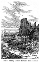0268405 © Granger - Historical Picture ArchiveBOSTON: FIRE, 1872.   View of Summer Street in Boston, Massachusetts, after the Great Fire of 9-11 November 1872. Contemporary English engraving.