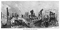 0268406 © Granger - Historical Picture ArchiveBOSTON: FIRE, 1872.   View from Pear Street, of the destruction in Boston, Massachusetts, after the Great Fire of 9-11 November 1872. Contemporary English engraving.