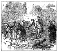 0268408 © Granger - Historical Picture ArchiveBOSTON: FIRE, 1872.   The opening of safes after the Great Fire of 9-11 November 1872 in Boston, Massachusetts. Contemporary English engraving.