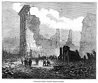 0268411 © Granger - Historical Picture ArchiveBOSTON: FIRE, 1872.   Ruins of buildings on Washington Street, opposite Bromfield Street, in Boston, Massachusetts, after the Great Fire of 9-11 November 1872. Contemporary English engraving.