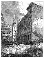 0268413 © Granger - Historical Picture ArchiveBOSTON: FIRE, 1872.   Ruins of buildings on Washington Street, looking toward Old South Church in Boston, Massachusetts, after the Great Fire of 9-11 November 1872. Contemporary English engraving.