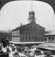 0326249 © Granger - Historical Picture ArchiveBOSTON: FANEUIL HALL.   Quincy Market and Faneuil Hall in Boston, Massachusetts. Stereograph, c1910.