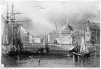 0622555 © Granger - Historical Picture ArchiveFANEUIL HALL, c1850.   Faneuil Hall as viewed from the waterfront, Boston, Massachusetts. Engraving by Archibald Dick after a painting by E. Prentis, c1850.