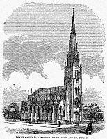 0078164 © Granger - Historical Picture ArchiveCHARLESTON, 1857.   'Roman Catholic Cathedral of St. John and St. Finbar.' Charleston, South Carolina. Wood engraving, 1857.