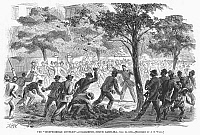 0088877 © Granger - Historical Picture ArchiveCHARLESTON: CONFLICT, 1866.   A fight between black and white men in Charleston, South Carolina, after the end of the American Civil War. Wood engraving after A.R. Waud, June 1866.