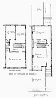 0092003 © Granger - Historical Picture ArchivePULLMAN: WORKER'S COTTAGE.   Plan of a typical cottage at the planned community of Pullman, Illinois, founded by George Pullman in 1885 for workers of his railroad company. Line engraving, 19th century.