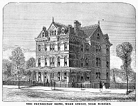 0101160 © Granger - Historical Picture ArchiveCHICAGO: FOUNDLING'S HOME.   The Foundling's Home, Wood Street, Chicago, Illinois. Wood engraving, American, 1878.