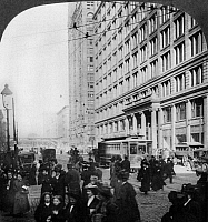 0108226 © Granger - Historical Picture ArchiveCHICAGO: STATE STREET.   Marshall Field's & Company department store and the Masonic Temple on State and Randolph streets, Chicago. Stereograph, c1909.