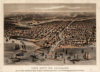 0180653 © Granger - Historical Picture ArchiveMAP: CHICAGO, 1872.   'The City of Chicago as it was before the great conflagration of October 8th, 9th, & 10th, 1871.' Lithograph by William Flint, c1872.