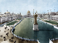 0216578 © Granger - Historical Picture ArchiveCOLUMBIAN EXPOSITION, 1893.   The Grand Basin at the World's Columbian Exposition in Chicago, Illinois. Photograph, 1893, digitally colored by Granger, NYC -- All rights reserved.
