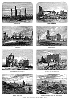 0267961 © Granger - Historical Picture ArchiveCHICAGO: FIRE, 1871.   Ruined buildings in Chicago after the Great Fire of 1871. Contemporary English wood engraving.