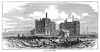 0268026 © Granger - Historical Picture ArchiveCHICAGO: FIRE, 1871.   Ruins of the Rock Island Depot after the Great Fire in Chicago, 8-10 October 1871. Contemporary English wood engraving.