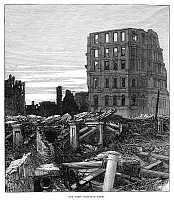 0268397 © Granger - Historical Picture ArchiveCHICAGO: FIRE, 1871.   Ruins of the First National Bank after the Great Fire in Chicago, 8-10 October 1871. Contemporary English engraving.