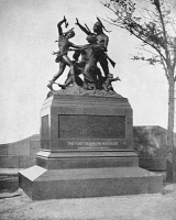 0353237 © Granger - Historical Picture ArchiveCHICAGO: FORT DEARBORN.   The monument to the Fort Dearborn massacre in Chicago, Illinois, designed by Carl Rohl-Smith and erected in 1893. Photograph, c1893.