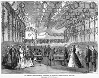 0355201 © Granger - Historical Picture ArchiveCHICAGO: SAENGERFEST, 1868.   Competition of the German Saengerfest Societies, or singing groups, at the Wabash Avenue Rink in Chicago, Illinois. Wood engraving, American, 1868.