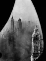0527465 © Granger - Historical Picture ArchiveCHICAGO, 1952.   View of the Chicago skyline, including the London Guarantee Building, Mather Tower, Jewelers' Building (33 East Wacker), and the Wrigley Building. Photograph, 1952.