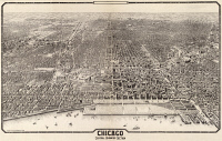 0527765 © Granger - Historical Picture ArchiveMAP: CHICAGO, 1916.   Aerial view of the central business section of Chicago, Illinois. Engraving by Arno B. Reincke, 1916.