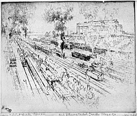 0622165 © Granger - Historical Picture ArchivePENNELL: CENTRAL TRACKS, 1919. 'Field Museum and Illinois Central Tracks, Chicago.' Etching by Joseph Pennell, 1919.