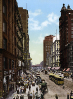 0623050 © Granger - Historical Picture ArchiveCHICAGO: STATE STREET.   View of State Street, north from Madison Street, in Chicago, Illinois. Photochrom, c1900.