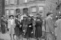 0623108 © Granger - Historical Picture ArchiveCHICAGO: EASTER, 1941.   Congregation outside of a church on the South Side of Chicago, Illinois, on Easter Sunday. Photograph by Edwin Rosskam, April 1941.