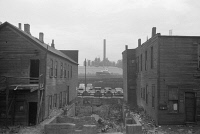 0623122 © Granger - Historical Picture ArchiveCHICAGO: SOUTH SIDE, 1941.   Condemned houses on the South Side of Chicago, Illinois. Steel mills are visible in the background. Photograph by Russell Lee, April 1941.