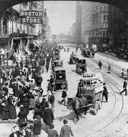 0623146 © Granger - Historical Picture ArchiveCHICAGO: STATE STREET, c1903.   Traffic on State Street in Chicago, Illinois. Stereograph by Underwood and Underwood, c1903.