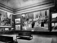 0623148 © Granger - Historical Picture ArchiveCOLUMBIAN EXPOSITION, 1893.   Exhibit in an art gallery at the World's Columbian Exposition in Chicago, Illinois. Carl von Marr's 'The Flagellants,' 1889, is featured in the center. Photograph, 1893.