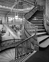 0623153 © Granger - Historical Picture ArchiveCHICAGO: ROOKERY BUILDING.   View of the lobby inside the Rookery Building at 209 South LaSalle Street in Chicago, Illinois. Photograph by Cervin Robinson, 1963.