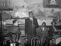 0623175 © Granger - Historical Picture ArchiveCHICAGO: TAVERN, 1941.   Band playing at a tavern on the South Side of Chicago, Illinois. Photograph by Russell Lee, April 1941.