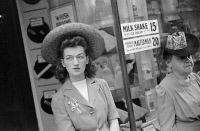 0623254 © Granger - Historical Picture ArchiveCHICAGO: WOMAN, 1941.   A woman waiting for a streetcar in Chicago, Illinois. Photograph by John Vachon, July 1941.