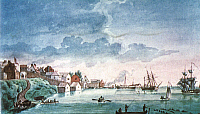 0021398 © Granger - Historical Picture ArchiveMICHIGAN: DETROIT, 1794.   The earliest known painting of Detroit. Watercolor, anonymous, 1794.
