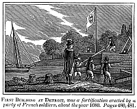 0060814 © Granger - Historical Picture ArchiveDETROIT: EARLY FORT, c1680.   A party of French soldiers constructing the first fort on the Detroit River, near the site of present-day Detroit, Michigan, c1680. Wood engraving, American, c1840.