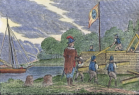0104324 © Granger - Historical Picture ArchiveDETROIT: EARLY FORT, c1680.   A party of French soldiers constructing the first fort on the Detroit River, near the site of present-day Detroit, Michigan, c1680. Wood engraving, American, c1840.