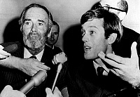 0109053 © Granger - Historical Picture ArchiveHENRY & PETER FONDA, 1966.   American actor Peter Fonda (right), the son of actor Henry Fonda (left), speaks to reporters at the time of his trial on charges of marijuana possession, 12 December 1966.