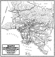 0527754 © Granger - Historical Picture ArchiveMAP: LOS ANGELES, 1912.   Map of Los Angeles, showing the steam and electric railway lines in Orange County. Lithograph, 1912.