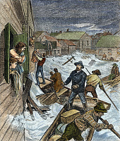 0053825 © Granger - Historical Picture ArchiveRESCUING FLOOD VICTIMS.   Inhabitants of Vermillion, Dakota Territory, being rescued from the flooding of the Missouri Valley in the spring of 1881: wood engraving from a contemporary American newspaper.