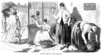 0000567 © Granger - Historical Picture ArchiveNEW ORLEANS: CREOLE GIRLS.   Creole girls selling flowers in the French Quarter. Wood engraving, American, 1855.