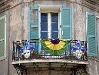 0127004 © Granger - Historical Picture ArchiveNEW ORLEANS: BALCONY, 2006.   A balcony in the French Quarter section of New Orleans during Mardi Gras, Louisiana. Photograph by Carol M. Highsmith, March 2006.