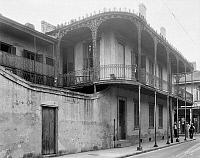 0131776 © Granger - Historical Picture ArchiveNEW ORLEANS: BUILDING.   Exterior view of the building at 701 Burgundy Street, New Orleans, Louisiana. Photographed by Frances Benjamin Johnston, c1938.