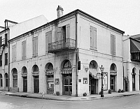 0132034 © Granger - Historical Picture ArchiveNEW ORLEANS: COFFEE HOUSE.   A view of Maspero's Exchange coffee house, a former slave auction house, at 440 Chartres Street in New Orleans, Louisiana. Photographed by Frances Benjamin Johnston, c1938.