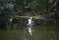 0162722 © Granger - Historical Picture ArchiveNEW ORLEANS: CITY PARK.   Two men fishing in a boat on a lagoon in City Park in New Orleans, Louisiana. Photographed c1974.