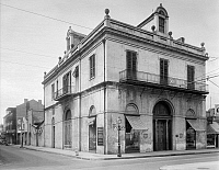 0162886 © Granger - Historical Picture ArchiveNEW ORLEANS: BANK.   A view of the Louisiana State Bank on the corner of Royal and Conti Streets in New Orleans, Louisiana, designed by Benjamin Latrobe and completed in 1822. Photographed by Frances Benjamin Johnston, c1938.